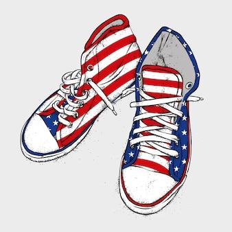 Handgetekende stijlvolle sneakers.