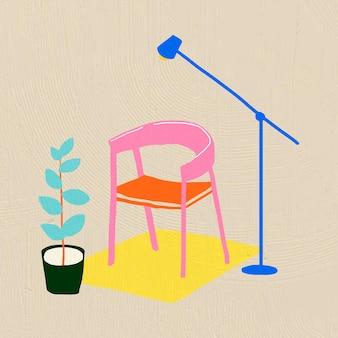 Handgetekende stoel vectormeubels in kleurrijke platte grafische stijl