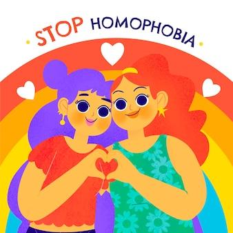 Handgetekende stop homofobie met vrouwen