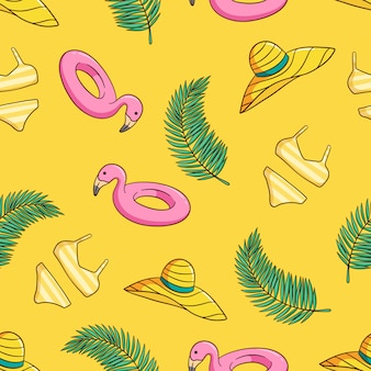 Handgetekende strandhoed, bikini en flamingo naadloos patroon