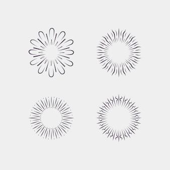 Handgetekende sunburst-collectie graveren Gratis Vector