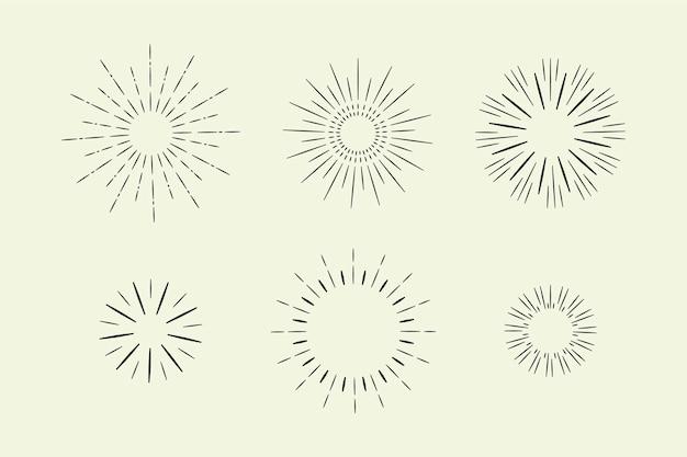 Handgetekende sunburst-collectie Gratis Vector