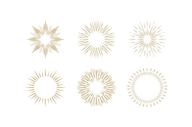 Handgetekende sunbursts-collectie graveren Gratis Vector