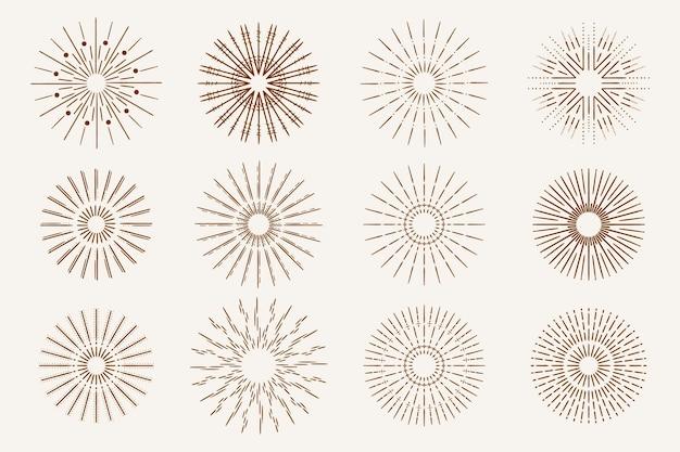 Handgetekende sunbursts-collectie