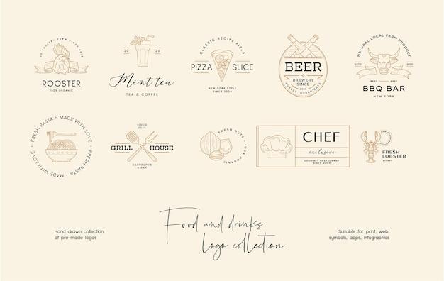 Handgetekende sushi premade vector logo ontwerpsjabloon voor restaurant café
