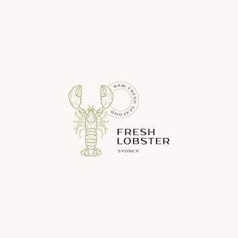 Handgetekende sushi premade vector logo ontwerpsjabloon