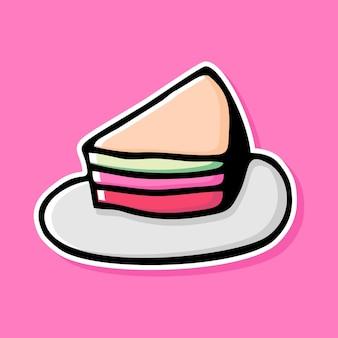 Handgetekende taart cartoon ontwerp