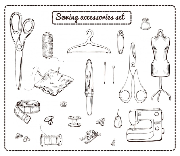 Handgetekende tailoring elements-collectie Gratis Vector