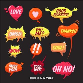 Handgetekende tekstballonnen met verschillende uitdrukkingen