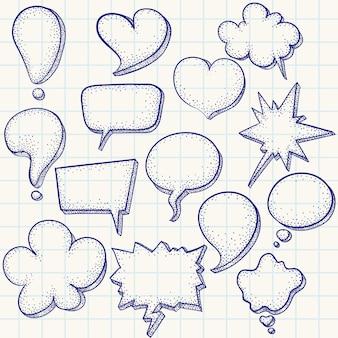Handgetekende tekstballonnen