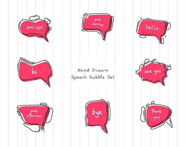 Handgetekende tekstballonnenset