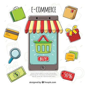 Handgetekende telefoon en winkelobjecten