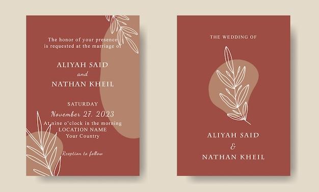 Handgetekende terracotta bruiloft uitnodiging sjabloon