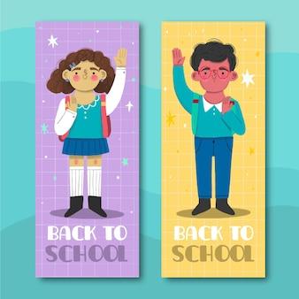 Handgetekende terug naar schoolbanners