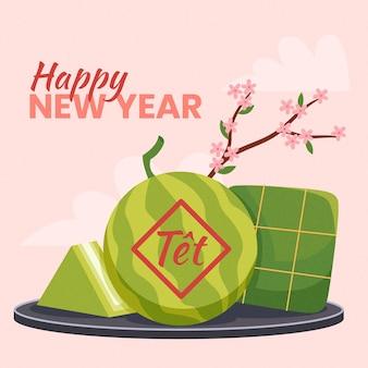 Handgetekende tet met abrikozenbloemen en watermeloen