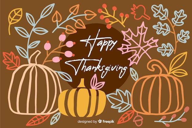 Handgetekende thanksgiving achtergrond