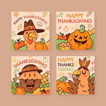 Handgetekende thanksgiving instagram posts collectie