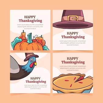 Handgetekende thanksgiving instagram postsjabloon
