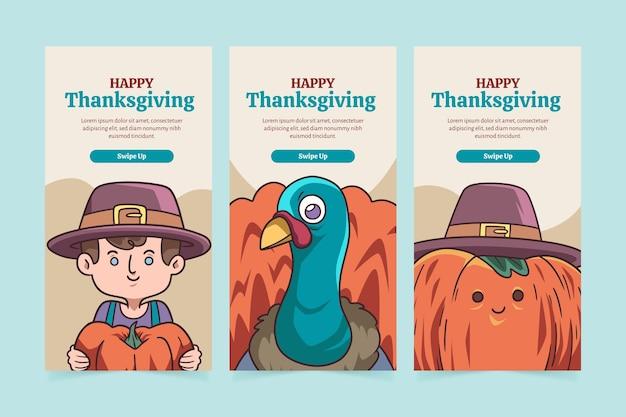 Handgetekende thanksgiving instagram-verhalen