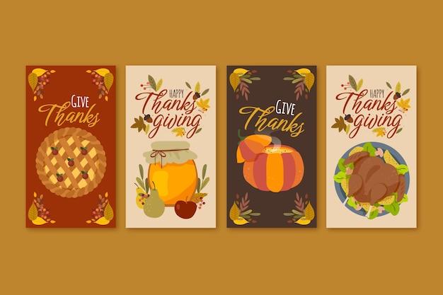 Handgetekende thanksgiving instagram-verhalencollectie