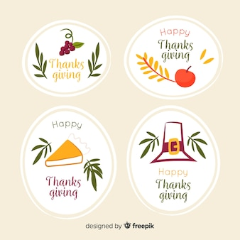 Handgetekende thanksgiving label concept