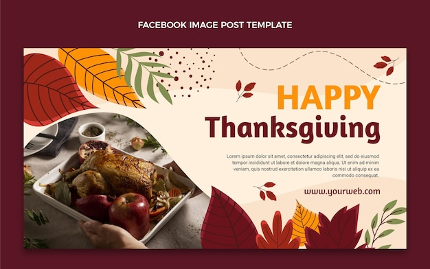 Handgetekende thanksgiving social media postsjabloon