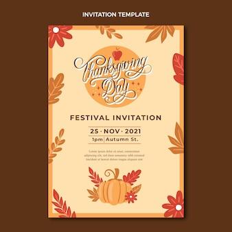 Handgetekende thanksgiving-uitnodigingssjabloon