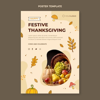 Handgetekende thanksgiving verticale postersjabloon
