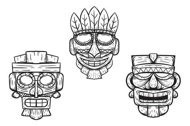 Handgetekende tiki-maskerillustratieset