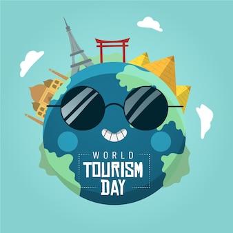 Handgetekende toerisme dag concept