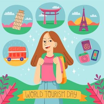 Handgetekende toerisme dag illustratie
