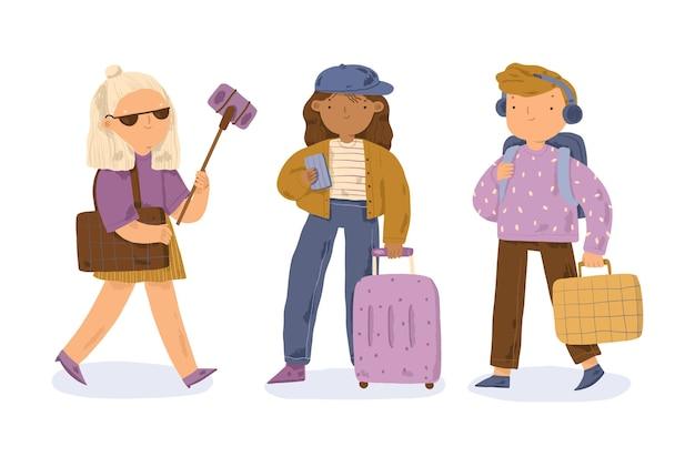 Handgetekende toeristen geïllustreerd