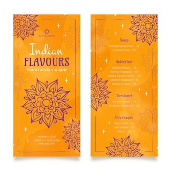 Handgetekende traditionele indiase restaurant menusjabloon