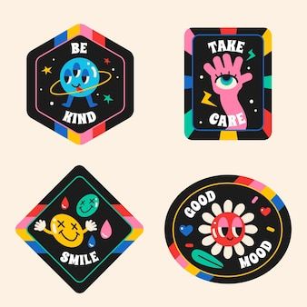 Handgetekende trendy cartoon badge-collectie