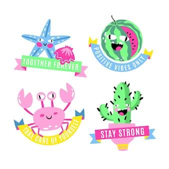 Handgetekende trendy cartoon badges collectie