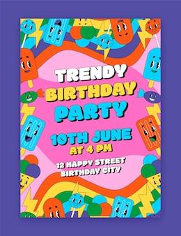 Handgetekende trendy cartoon verjaardagsuitnodiging sjabloon