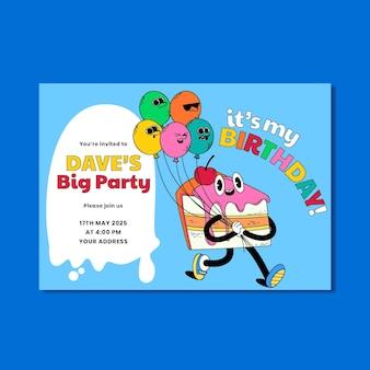 Handgetekende trendy cartoon verjaardagsuitnodiging