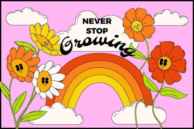 Handgetekende trendy cartoonachtergrond met bloemen