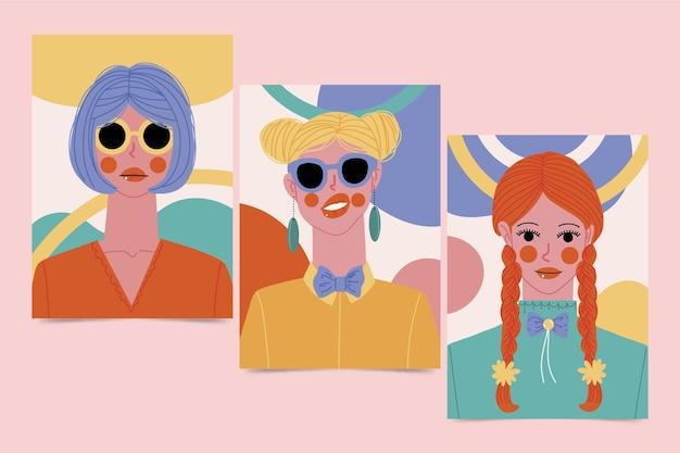 Handgetekende trendy mode portretten covers