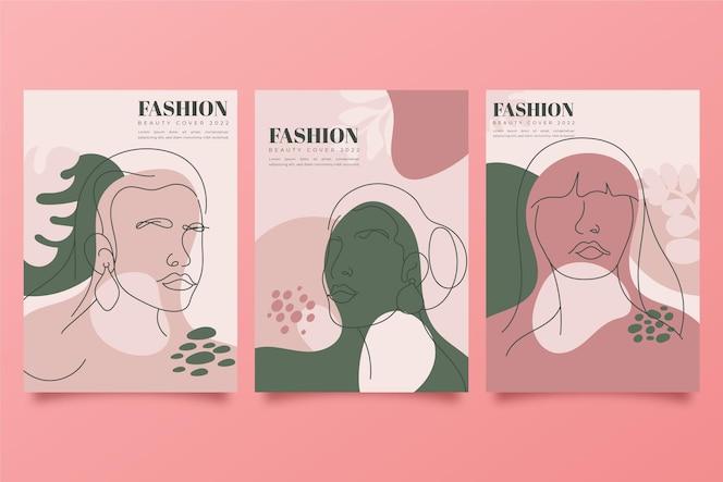 Handgetekende trendy modeportretten omslagcollectie