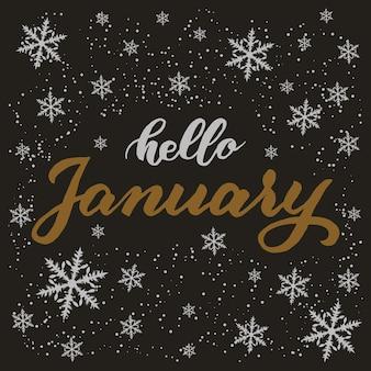 Handgetekende typografie belettering zin hallo januari