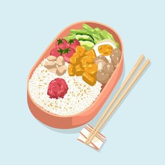 Handgetekende umeboshi bento illustratie