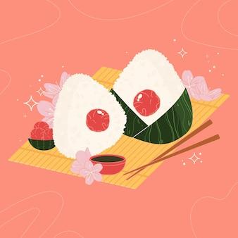 Handgetekende umeboshi onigiri illustratie
