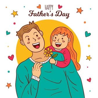 Handgetekende vaderdag illustratie concept