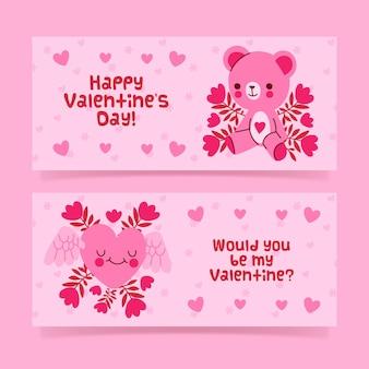 Handgetekende valentijnsdag banners collectie