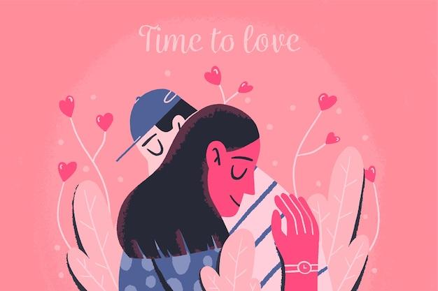 Handgetekende valentijnsdag behang concept