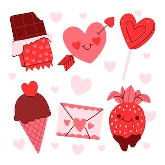 Handgetekende valentijnsdag element collectie