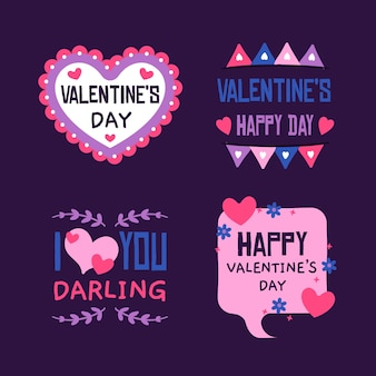 Handgetekende valentijnsdag label collectie