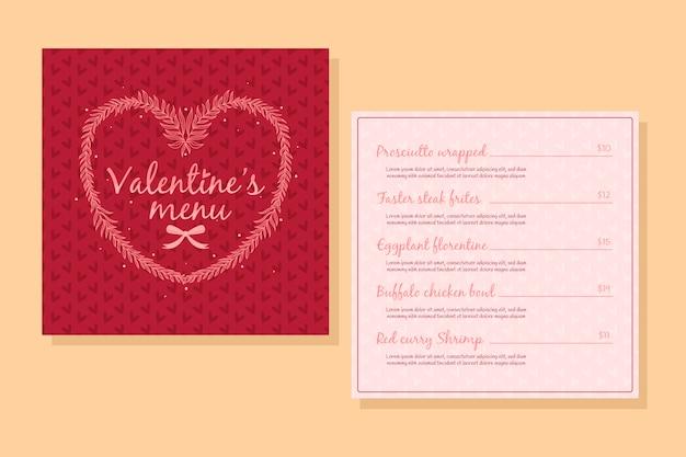 Handgetekende valentijnsdag menu sjabloon concept