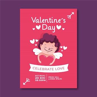 Handgetekende valentijnsdag partij folder sjabloon